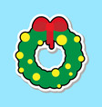 christmas wreath with red ribbon icon isolated vector image