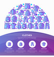 clothing concept in half circle with line icons vector image vector image