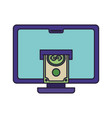 computer with bills isolated icon vector image vector image