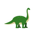 cute cartoon green brachiosaurus dinosaur vector image