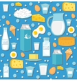 Dairy product seamless pattern Flat style Milk vector image vector image