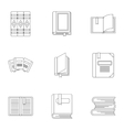 Education book icons set outline style vector image vector image