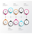 enamel icons line style set with dentist dental vector image