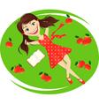 enjoying under apple tree vector image vector image