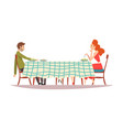 family couple sitting at kitchen table with vector image