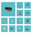 flat icons macaw banner sabre and other vector image vector image