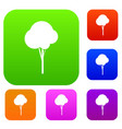 fluffy tree set collection vector image vector image