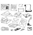 hand drawn sketch of paper letter vector image vector image