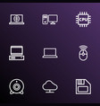 hardware icons line style set with internet vector image vector image