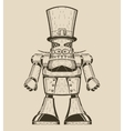 Image of cartoon fun metal robot with mustache in vector image