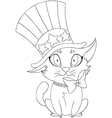 Independence Day Kitten Coloring Page vector image vector image