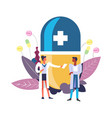 medicine and pharmacy doctor with patient and pill vector image vector image