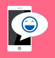 mobile phone with smile vector image