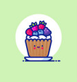 muffin cake whipped cream forest berries vector image vector image