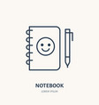 notebook flat line icon branding stationery sign vector image vector image