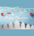 paper art of merry christmas day vector image vector image
