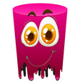 Pink color tube with happy face vector image vector image