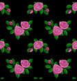 pink rose embroidery seamless pattern vector image vector image