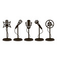 retro microphone icons vector image vector image