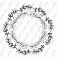 rustic floral round frame hand drawn vector image vector image