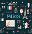 seamless background on theme france and paris vector image vector image