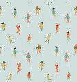 seamless pattern with women skate trendy vector image vector image