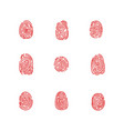 set of isolated fingertips or fingerprints vector image