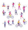 set of people exercising and having fun vector image