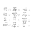 Sketch icons collection for food trolley vector image