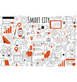 smart city doodle set vector image