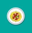 spaghetti with shrimps and basil in flat style vector image vector image