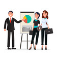 team of success people with diagram on broadsheet vector image vector image