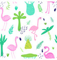 tropical seamless pattern with cute flamingo vector image vector image