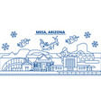 usa arizona mesa winter city skyline merry vector image vector image