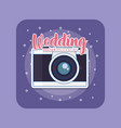 wedding card with photographic camera vector image