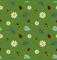 white flowers seamless repeat pattern with ladybug vector image