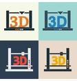 3D printer icons set vector image vector image