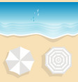 aerial view of sea beach with two beach umbrellas vector image