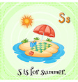 Alphabet S is for summer vector image