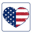 american flag heart grunge vector image