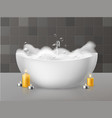 bath with foam relaxing bath with soap bubbles vector image vector image
