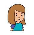 beautiful little girl head character vector image