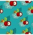 Bee and apple seamless pattern vector image