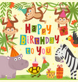 birthday card with cheerful jungle animals vector image vector image