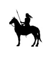 black silhouette of indian on horse vector image vector image