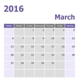 Calendar March 2016 week starts from Sunday vector image