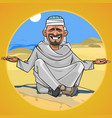 cartoon man in arab clothes sitting in the desert vector image vector image