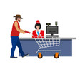 cashier woman and shopper vector image