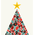 Christmas multimedia music tree greeting card vector image