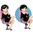 Cute young Asian office woman on chair vector image vector image